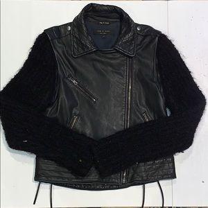 rag & bone Leather Moto Jacket with Wool Sleeves
